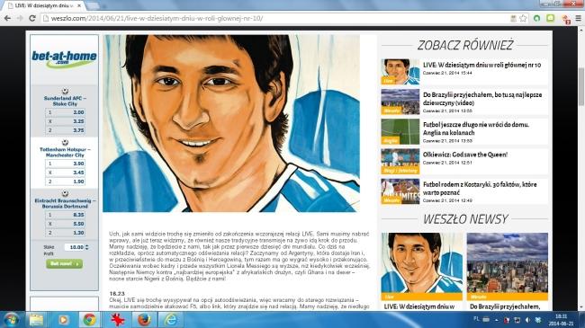 Nowy wygląd Weszlo.com na przeglądarce Chrome