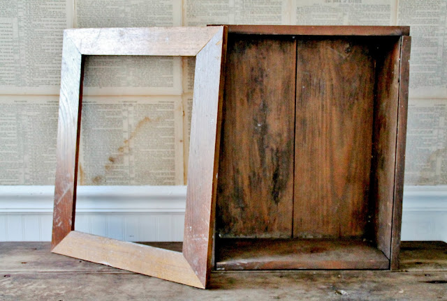 DIY Repurposed Wooden Crate into Primitive Rustic Farmhouse Cupboard Cabinet via Knick of Time
