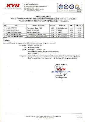 PENGUMUMAN PESRTA TEST PT. KAYABA INDONESIA