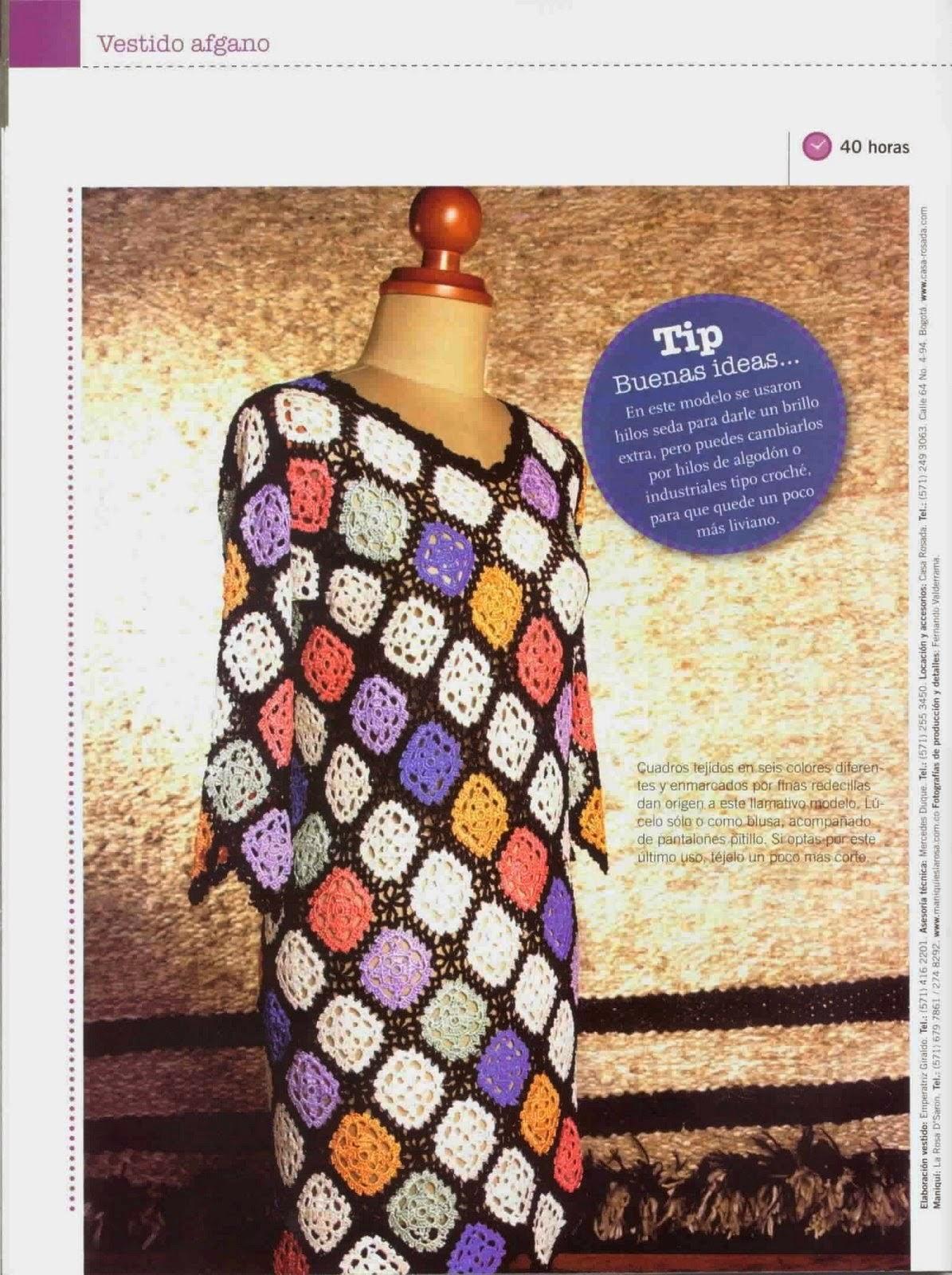 Vestido a crochet con diseño afgano