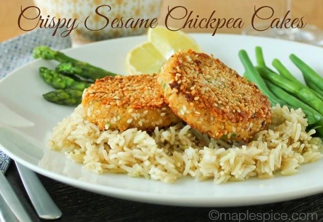 Crispy Sesame Chickpea Cakes - vegan