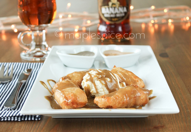 Vegan Beer Battered Banoffee Fritters with Salted Caramel or Toffee Sauce.