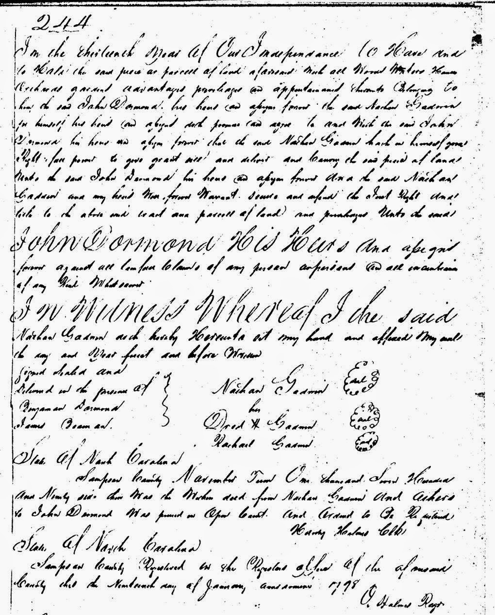 Deed Rachel Nathan and Dred Godwin to John Dormand Sampson Co NC - 2