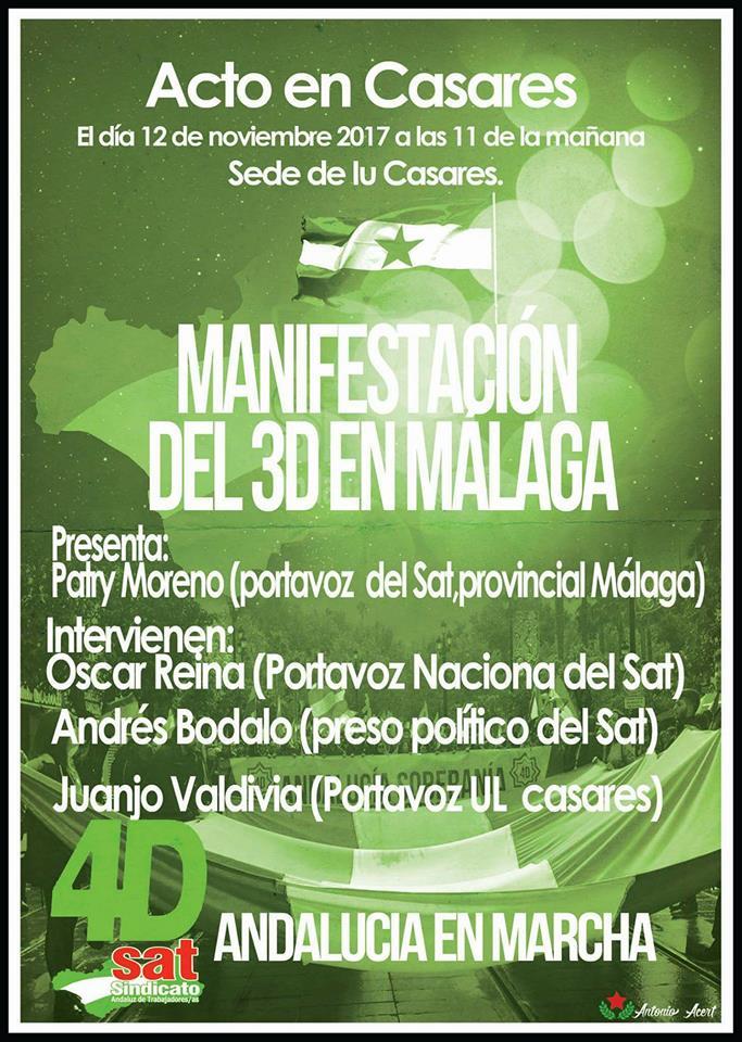 ACTO EN CASARES. Domingo 12 Nov.,11H   MANIFESTACIÓN DEL 3D EN MÁLAGA