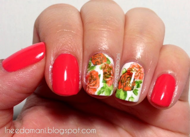 rose water decal coral and white nails