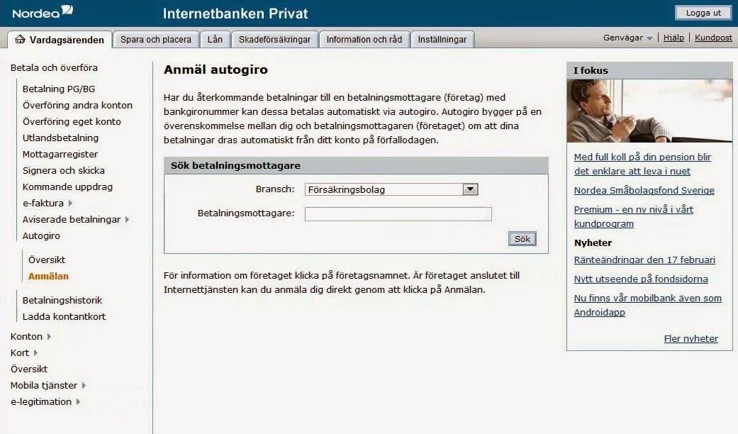 Nordea Account Settings Screen