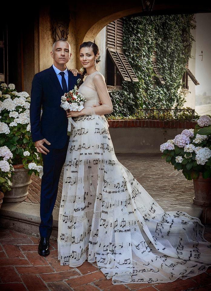 eros ramazzotti wife wedding dress
