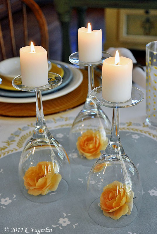 Good Couples Dinner Party Ideas Part - 8: Our Final Center Table Creation Is Perfect For A Romantic Or Couples Only  Intimate Dinner Party. Simply Turn Over You 3-4 Wine Glasses In A Triangle  Form As ...