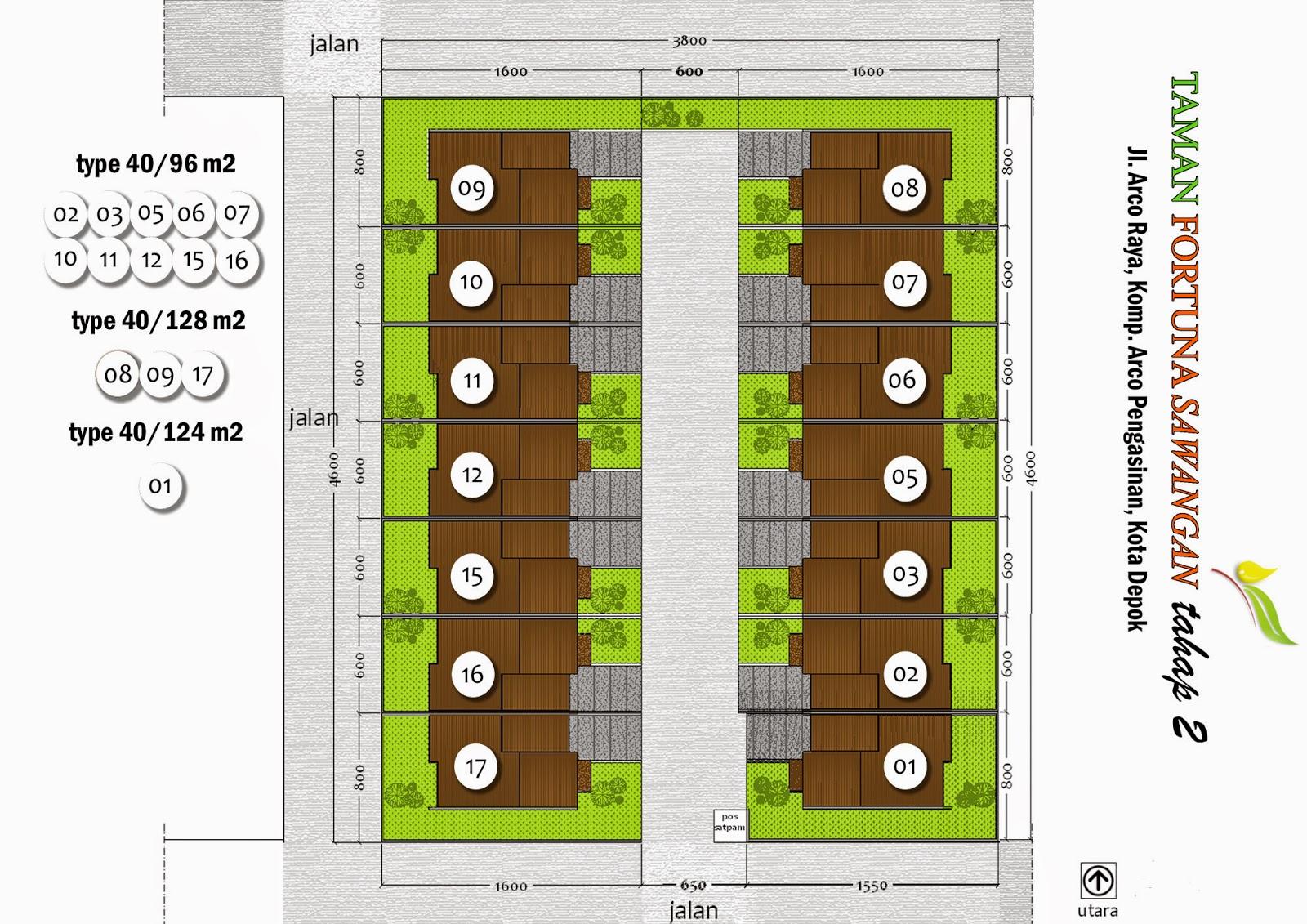 Site Plan dan Denah Rumah Taman Fortuna Depok Sawangan