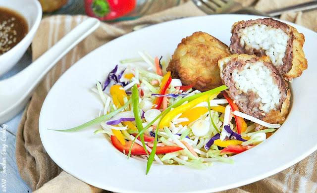 Asian Slaw and Fried Beef Stuffed with Rice