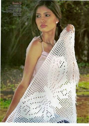 Chal con diseño de mariposa tejido al crochet con patrones