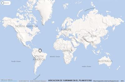 Ubicación de SURINAM en El Planisferio (bing)
