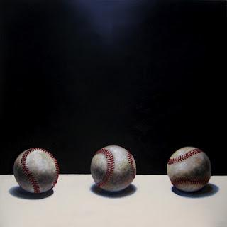 realistic painting of three baseballs by jeanne vadeboncoeur