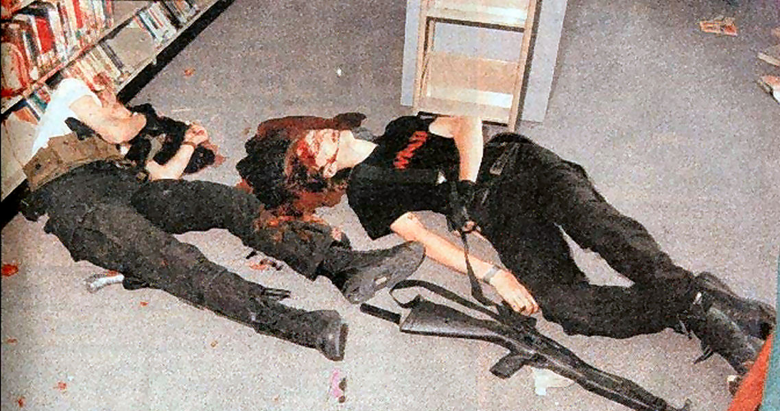 Eric and Dylan after commiting suicideColumbine Shooting Crime Scene Photos
