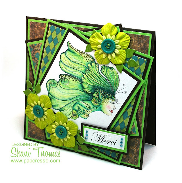 Merci card with Besties Fairy Breeze digital stamp, Tactile Studio Absinthe digital paper pack, design and coloring by Paperesse.