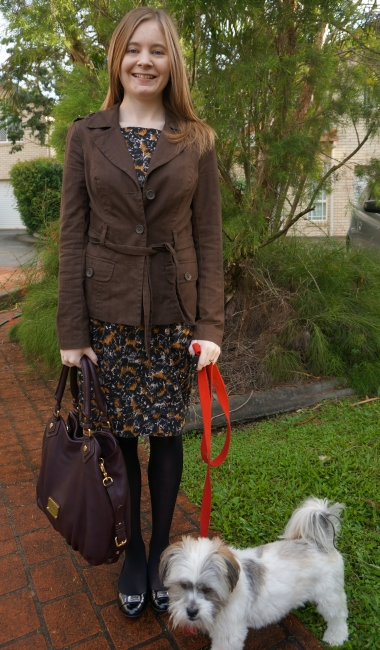 awayfromblue brown and black together marc by marc jacobs fran patent flats french connection printed dress trench