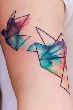 Tattoo Pássaros dobradura com aquarela