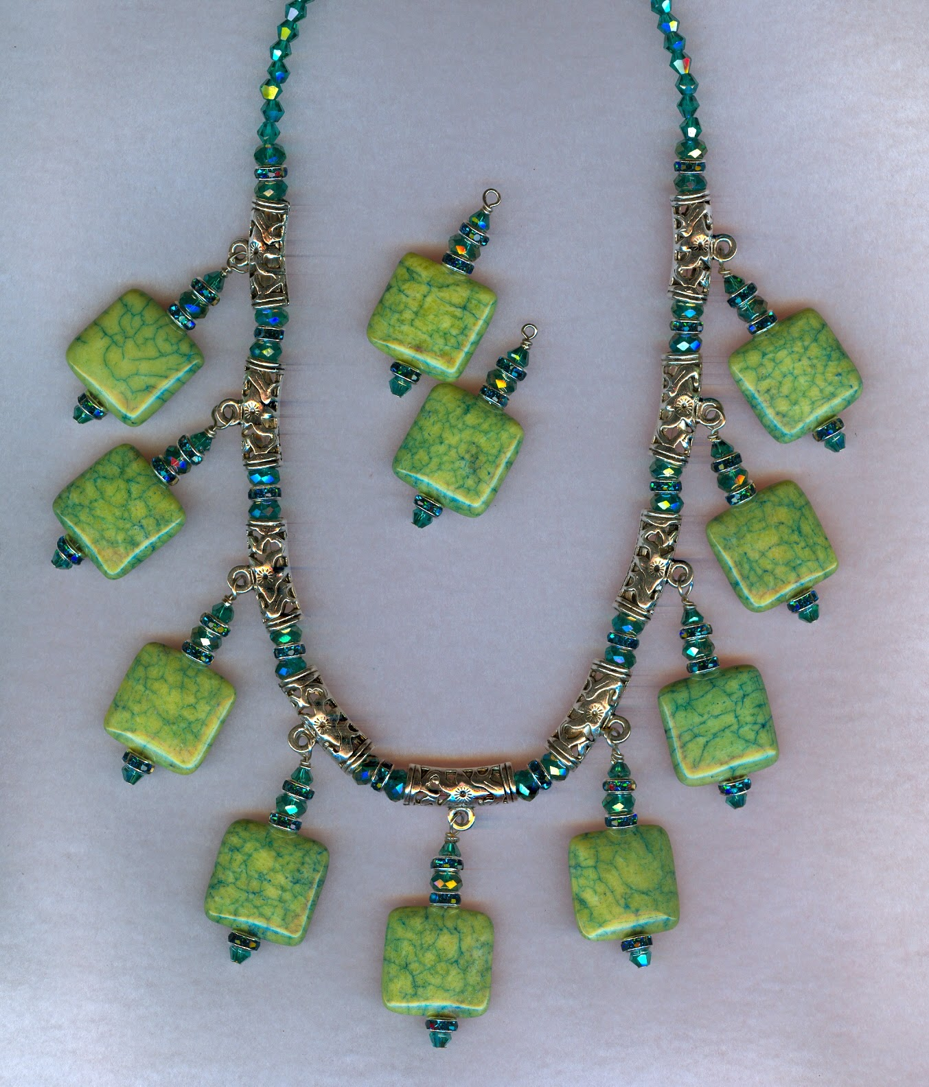 green stone & crystal necklace