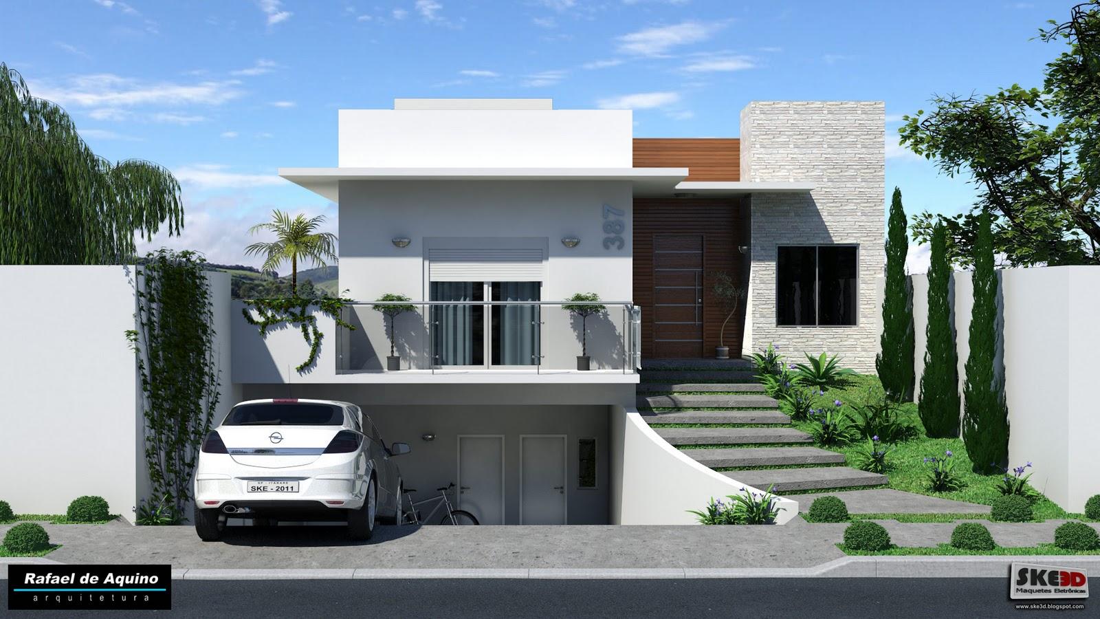 Ske3d maquetes eletr nicas resid ncia com subsolo for Casa moderna wallpaper