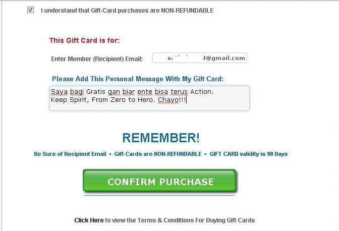 Cara Memberikan Gift Card