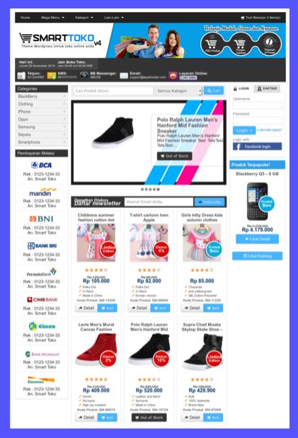 Kumpulan template toko online