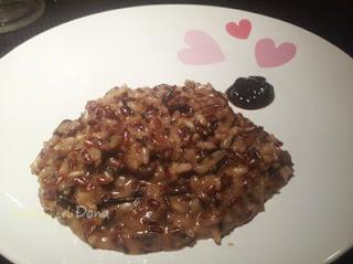 risotto con gorgonzola e miritlli all'aceto balsamico
