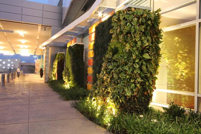 ideias de jardins lindos: flores para a divulgação de empresas em fachadas de prédios e muros