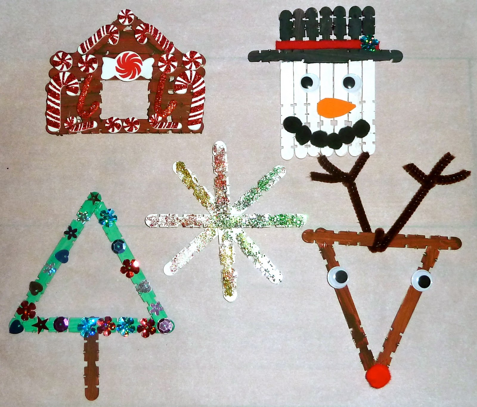 5 craft stick christmas ornaments for kids for Art and craft for decoration