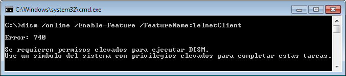 Instalar telnet desde CMD