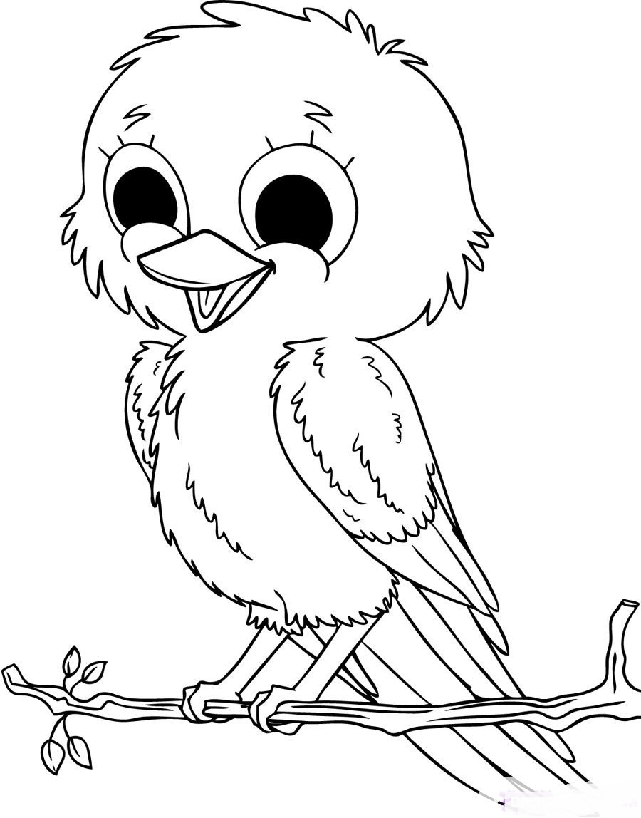 Cute baby birds coloring pages to printables for Coloring page of a bird