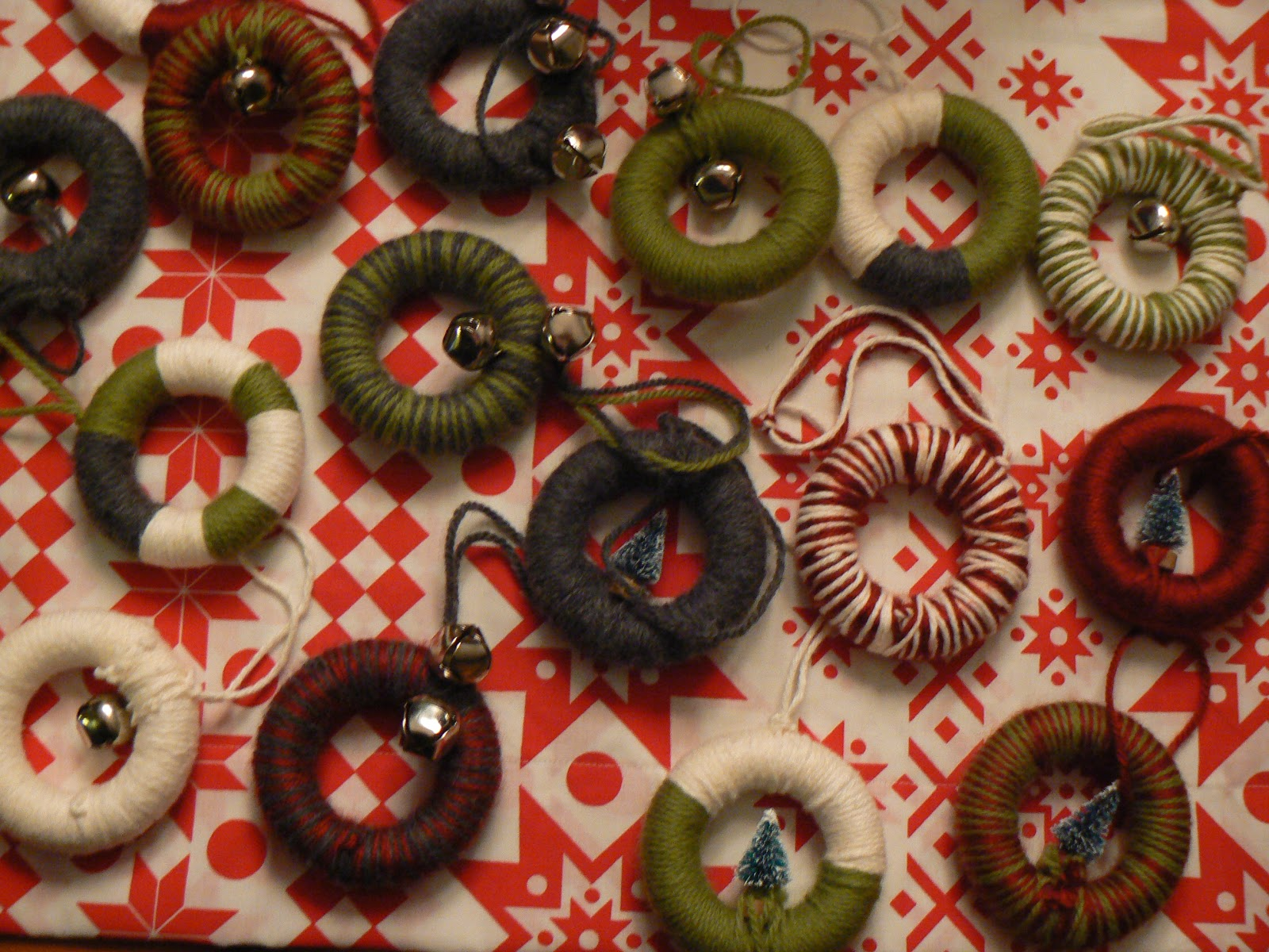 Miniature ornaments - I Made Mini Yarn Wrapped Wreath Ornaments You Know Why I Love Them Because They Are Miniature Of Course There Is Literally No Skill Involved In Making