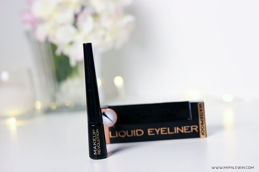 liquid eyeliner, make up revolution, review, eyeliner, black, swatch, my pale skin, em ford