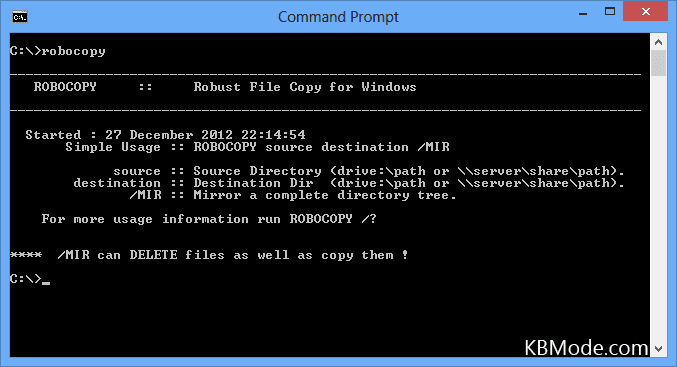 Robocopy: Command-line Usage Examples and Switches