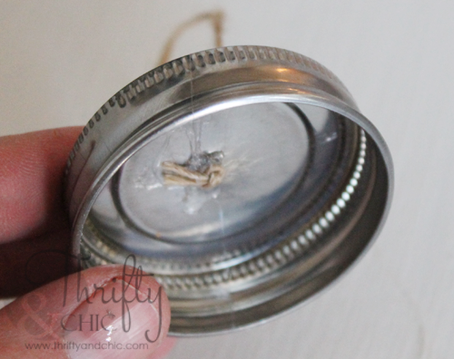 Mini mason jar tea light ornament -made with salt to look like snow