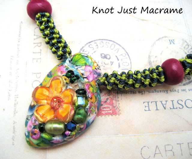 Micro macrame necklace with polymer clay focal by Ke Robinson