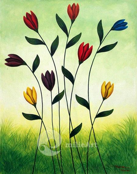 lukisan bunga warna warni