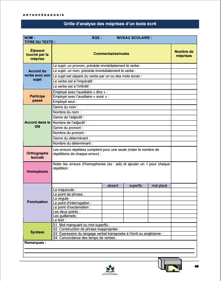 Le blog bazar marie outils d 39 valuation en orthop dagogie - Grille d evaluation immigration quebec ...