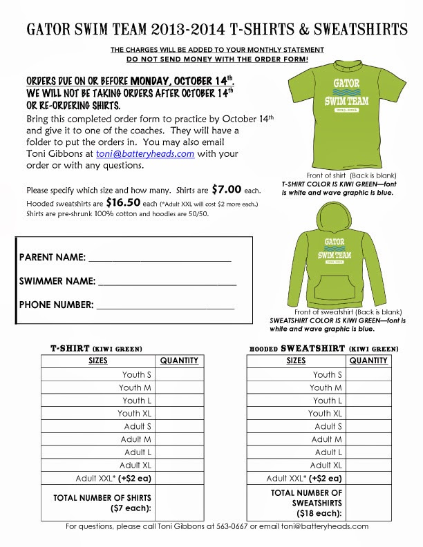 Gator Swimming : T-Shirts And Sweatshirts Ready To Order!