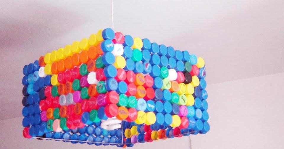 L mpara reciclada con tapitas de botellas construccion y - Hazlo tu mismo manualidades ...