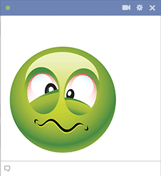 Green smiley feeling sick