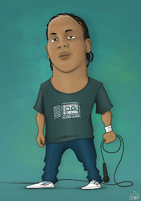 caricatura do Rapper MC Kamau