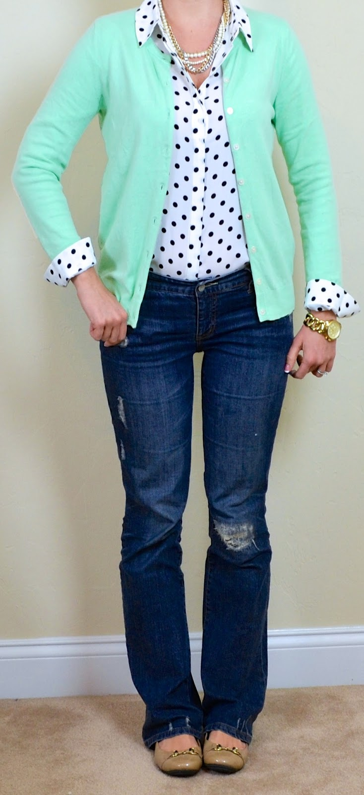 Outfit Posts: outfit post: mint cardigan, polka dot blouse ...