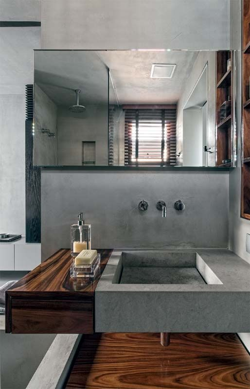 Wood and Micro-Cement Bathrooms