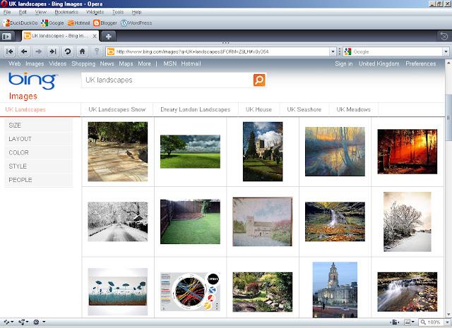 Opera 10.10 Browser with Bing running in Windows ME