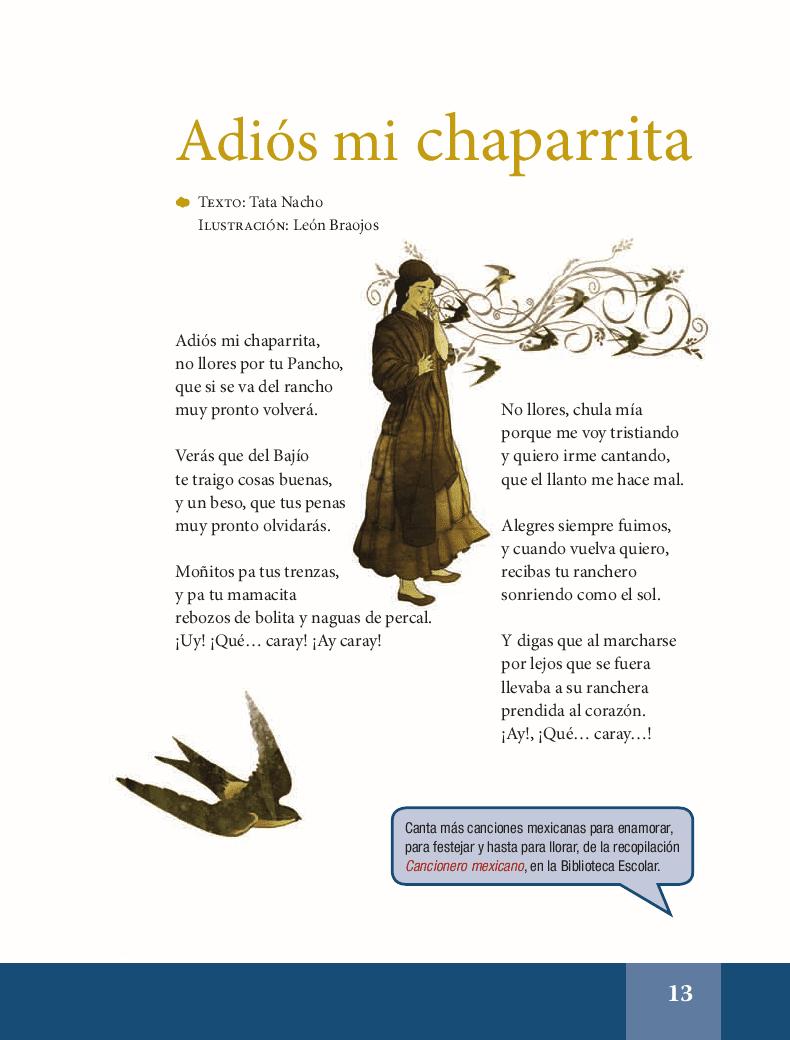 Adiós mi chaparrita - Español Lecturas 6to 2014-2015