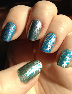 Skittles Manicure, China Glaze Blue Hawaiian, Layla Ocean Rush, Bundle Monster, Blue