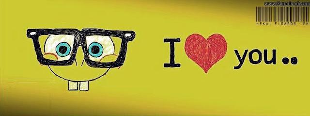 غلاف فيس بوك اسبونج بوب i love you صورة جميلة باللون الاصفر تصلح للشباب والبنات والاولاد