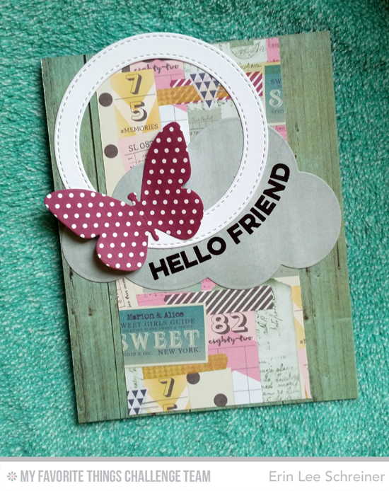Hello Friend Card by Erin Lee Schreiner featuring the Wavy Greetings stamp set and the Flutter of Butterflies-Solid and Jumbo Cloud STAX Die-namics #mftstamps