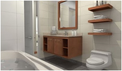 BATHROOM VANITIES AND SHELVES IN A MODERN BATHROOM DESIGN