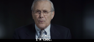 donald rumsfeld, the unknown known, rummy, rummies, errol morris, cool, measured